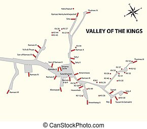Valley of the Kings map - Valley of the Kings vector map,...