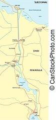 suez canal map - suez canal vector map