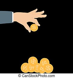 Hand Puts Gold Coin - Contribution to the Future. Vector...