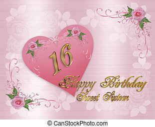 Sweet 16 birthday card - Illustration composition of pink...