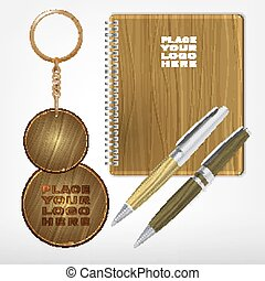 Wooden Promo Set 05 A - Vector illustration of a wooden and...