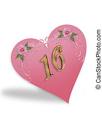 Sweet 16 pink heart graphic