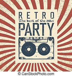 Retro party advertising flyer with old audiocassette....