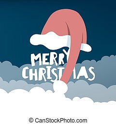 Greeting card with Santa`s hat. Vector illustration