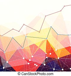 Abstract colorful triangles background. Business chart graph with lines of increase