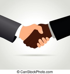 interracial handshake concept - Illustration of interracial...