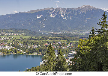 Lake Bled with The Karawanks mountain range in Slovenia,...