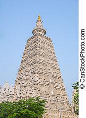 Close up Bodh Gaya style stupa at Wat Chong Kham Phra...