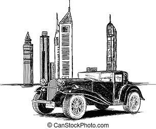 Modern Dubai Buildings and Vintage Car Vector Illustration