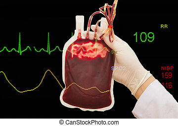 Fresh donor blood for transfusion and EKG monitor in ICU unit