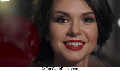 Portrait of amazing beautiful girl with red lips close-up....
