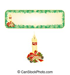 Banner Christmas with candle and pine cones vector.eps -...