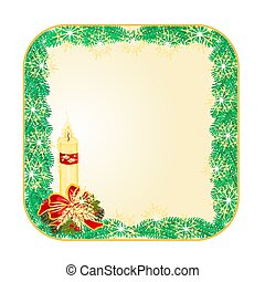 Button square Christmas candle and pine cones vector.eps -...