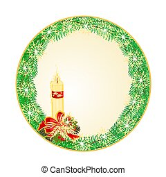 Button circle Christmas candle and pine cones vector.eps -...