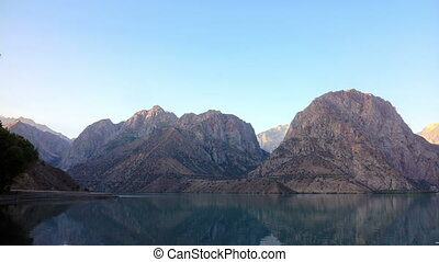 Mountains in the morning sun. Time Lapse. Tajikistan....