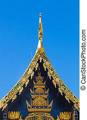 Beautiful Golden Thai Lanna Architecture: Chapel Roof of Wat...