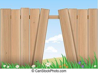 Fence with a hole