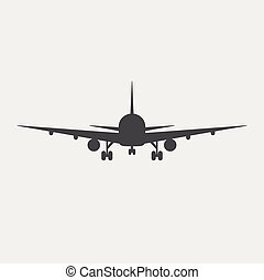 vector illustration line silhouette of airplane isolated