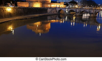 Sant'Angelo, Reflection in the Tiber, Rome. Italy. UltraHD...