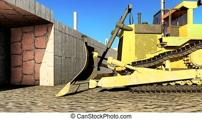 Dusty big bulldozer