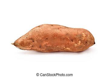 raw sweet potato - a raw sweet potato on a white background
