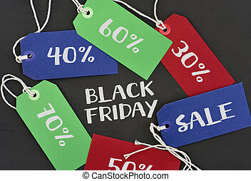 text black friday and labels with different percentages