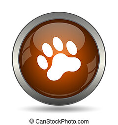 Paw print icon. Internet button on white background.