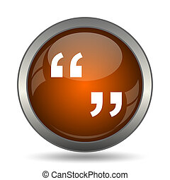 Quotation marks icon. Internet button on white background.
