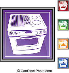 Stove web button isolated on a background.
