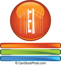 Golden Gate Bridge web button isolated on a background