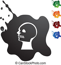 X-ray Skull - X-ray skull web button isolated on a...