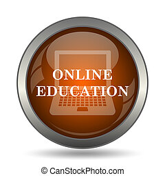 Online education icon. Internet button on white background.
