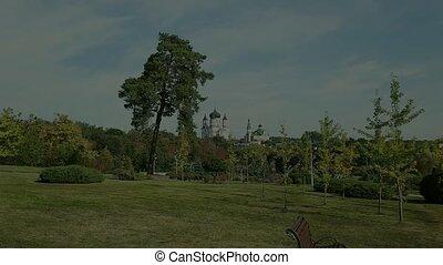 Female St. Panteleimon Monastery in the park Feofania. Kiev...