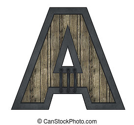 wooden uppercase letter a with metal frame on white background - 3d illustration