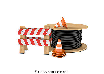 Rendering of several construction cones, fence and cable...