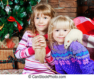 two sisters with rats - two sisters with their pet rats at...