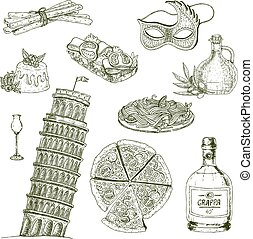 Italy Drawn Icon Set - Hand drawn italy elements set with...
