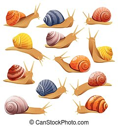 Decorative Snails Set - Set of isolated drawn snails of...