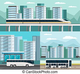 Public Transportation Orthogonal Compositions Set - Public...