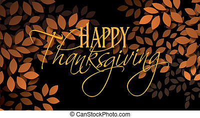 Happy Thanksgiving sentiment with leaves - Graphic...