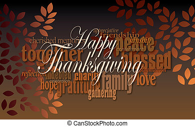 Happy Thanksgiving word montage with leaves - Graphic...