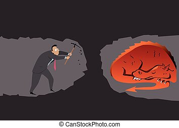 Unexpected results - Businessman with a pickaxe digging a...
