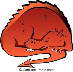 Sleeping dragon - Sleeping cartoon dragon, EPS 8 vector...