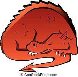 Sleeping dragon - Sleeping cartoon dragon, EPS 8 vector...