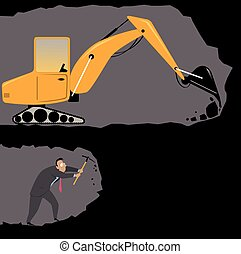 Man against machine - Businessman with a pickax digging a...