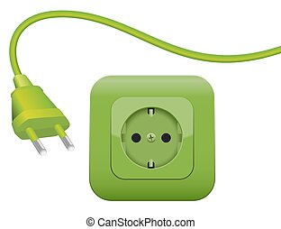 Green Energy Power Plug Socket SCHUKO - Green plug and...