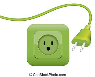 Green Energy Power Plug Socket - Green plug and socket -...