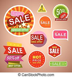 Set of sale labels and stickers, discount shopping