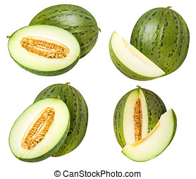 Set of green melons isolated on white background