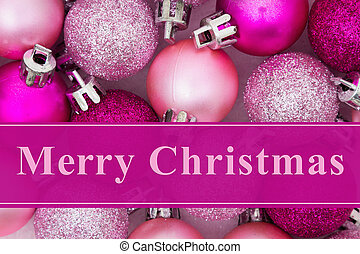 Merry Christmas greeting, Some pale and bright pink sparkle...